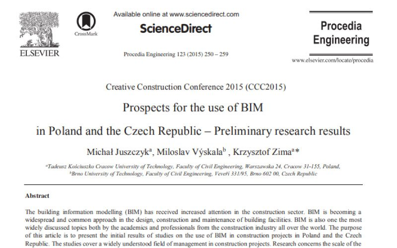 Prospects for the use of BIM in Poland and the Czech Republic – Preliminary Research Results