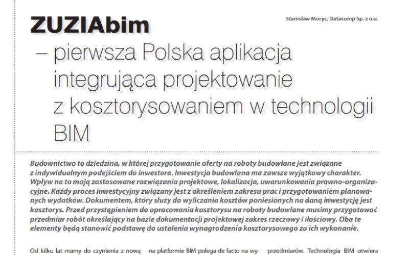 ZUZIAbim – pierwsza Polska aplikacja integrująca projektowanie z kosztorysowaniem w technologii BIM