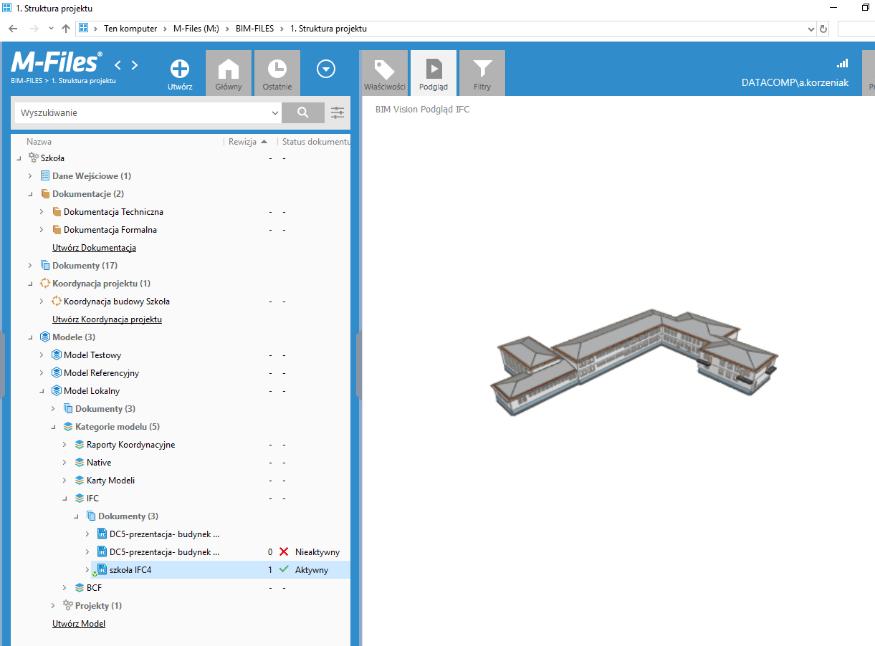 System umożliwia podgląd plików, zarówno tradycyjnych graficznych 2Db i tekstowych jak i IFC